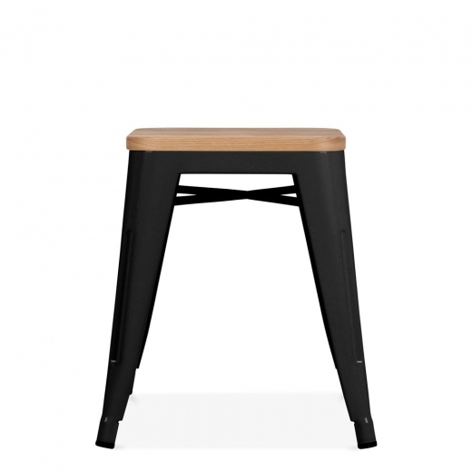 Xavier Pauchard Tolix Style Metal Low Stool with Wood Seat Option - Black 45cm