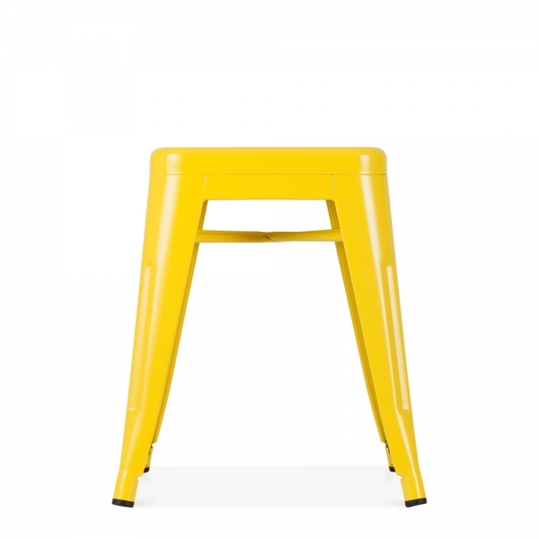tolix style metal low stool yellow 45cm industrial stools cult