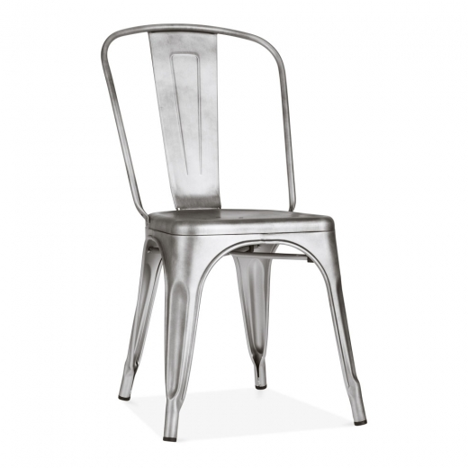 Xavier Pauchard Tolix Style Metal Side Chair - Antique Silver