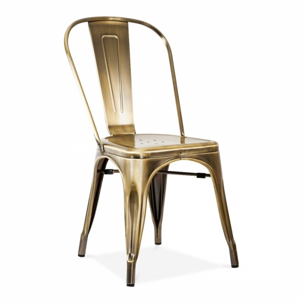Xavier Pauchard Tolix Style Metal Side Chair   Brass