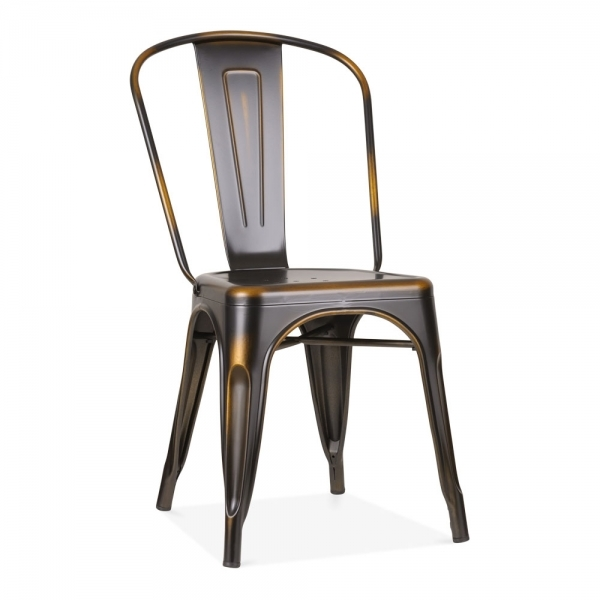 Xavier Pauchard Tolix Style Metal Side Chair   Distressed Copper