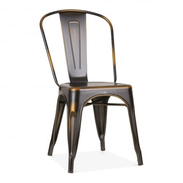 Tolix Style Metal Side Chair - Distressed Copper