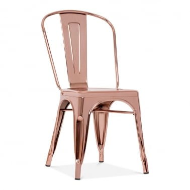 Tolix Style Metal Side Chair Rose Gold