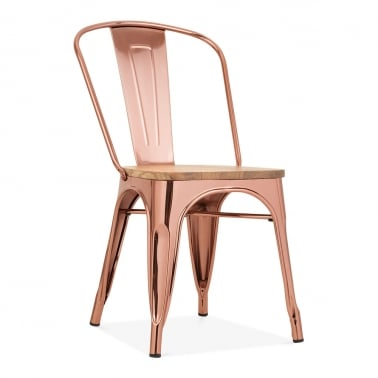 Tolix Style Metal Side Chair, Solid Elm Wood, Rose Gold