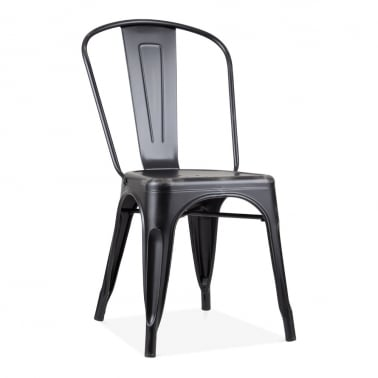 Tolix Style Metal Side Chair, Vintage Black