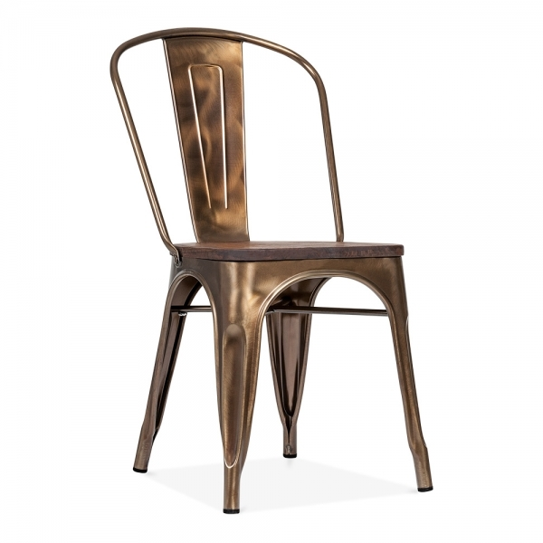 Xavier Pauchard Tolix Style Metal Side Chair With Brown Wood Seat   Bronze
