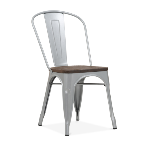Xavier Pauchard Tolix Style Metal Side Chair with Brown Wood Seat - Silver Powder Coated