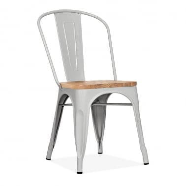Tolix Style Metal Side Chair With Natural Wood Seat - Matte Cool Grey