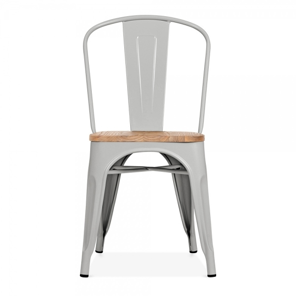 xavier pauchard style matte cool grey chair with wood seat cult uk