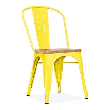 Tolix Style Metal Side Chair With Natural Wood Seat - Yellow