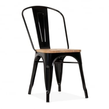 Tolix Style Metal Side Chair with Wood Seat Option - Black