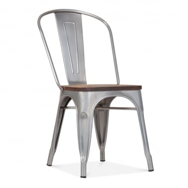 Tolix Style Metal Side Chair with Wood Seat Option - Galvanised