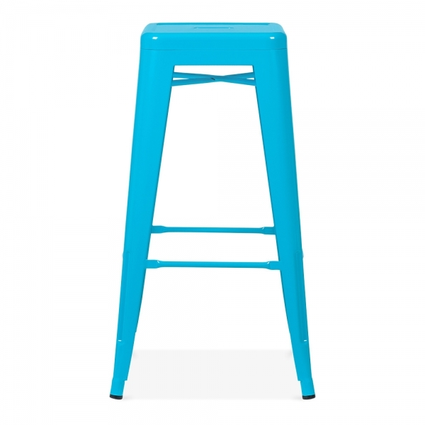 Sky Blue Powder Coated 75cm Tolix Style Industrial Stool