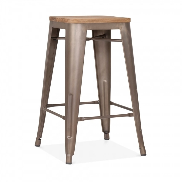 rustic with option wood seat 65cm tolix style stool cult uk