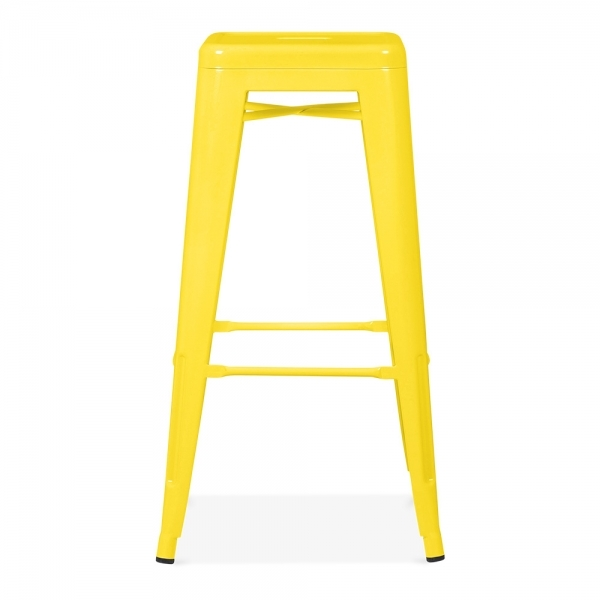 yellow powder coated 75cm tolix style industrial stool cult uk