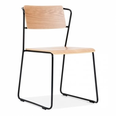 Tram Chair with Wood Seat Option - Black