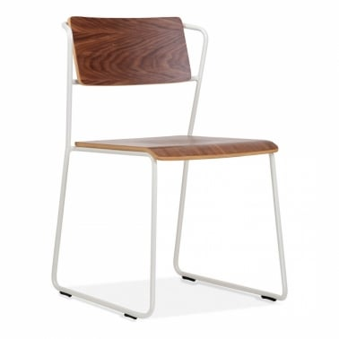 Tram Chair with Wood Seat Option - White