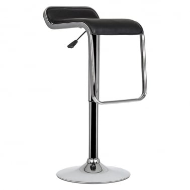 Trend Swivel Bar Stool With PVC Seat - Black 63-85cm