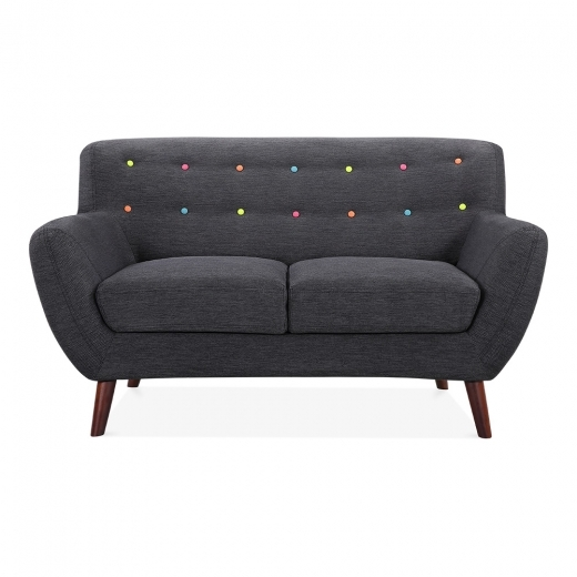 Cult Living Trent 2 Seater Small Sofa, Fabric Upholstered, Dark Grey