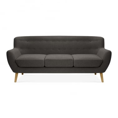 Trent 3 Seater Sofa, Wool Touch Fabric, Dark Grey