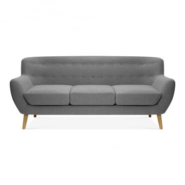 Trent 3 Seater Sofa, Wool Touch Fabric, Grey
