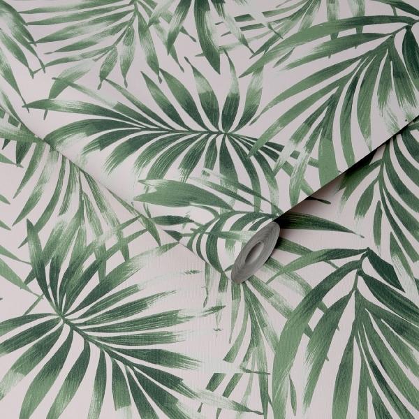 Tropical Leaves Trail Patterned Wallpaper Leaf Wallpaper