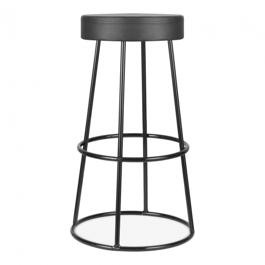 Cult Living Truss Metal Bar Stool, Faux Leather Seat, Black 79cm