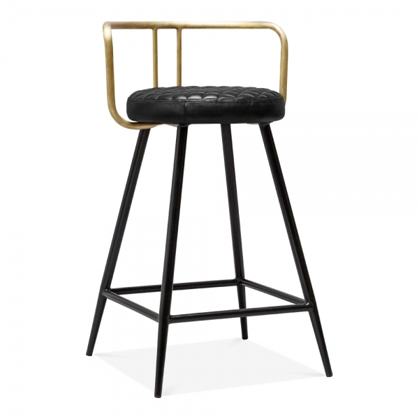 Surprising Union Metal Bar Stool With Backrest Black Faux Leather Seat Brass 65Cm Caraccident5 Cool Chair Designs And Ideas Caraccident5Info