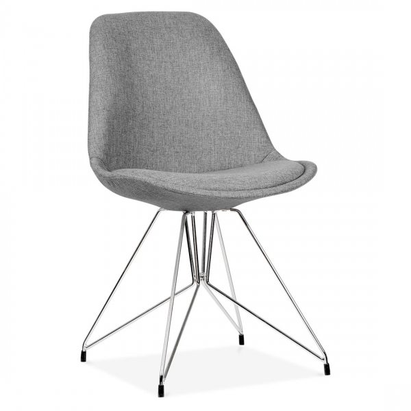 Good Eames Inspired Upholstered Dining Chair With Geometric Metal Legs   Cool  Grey