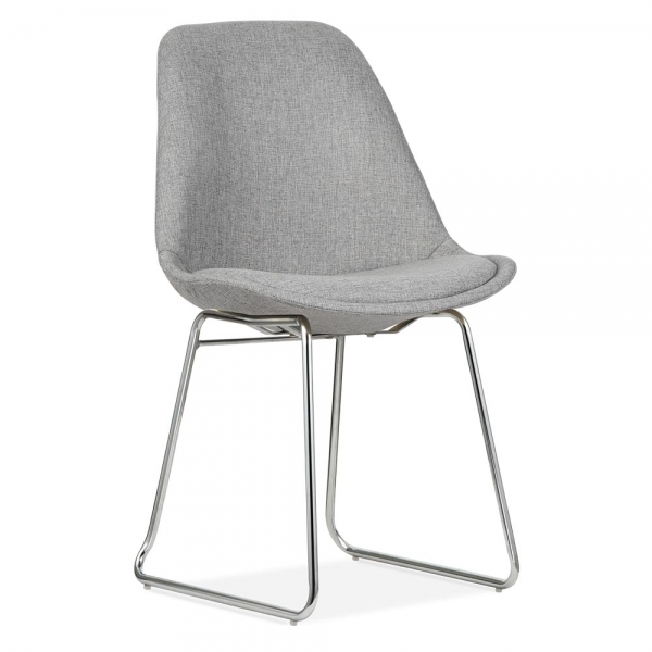 Eames Inspired Upholstered Dining Chairs With Soft Pad Seat   Cool Grey