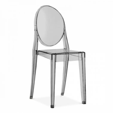 Victoria Ghost Dining Chair   Black Transparent