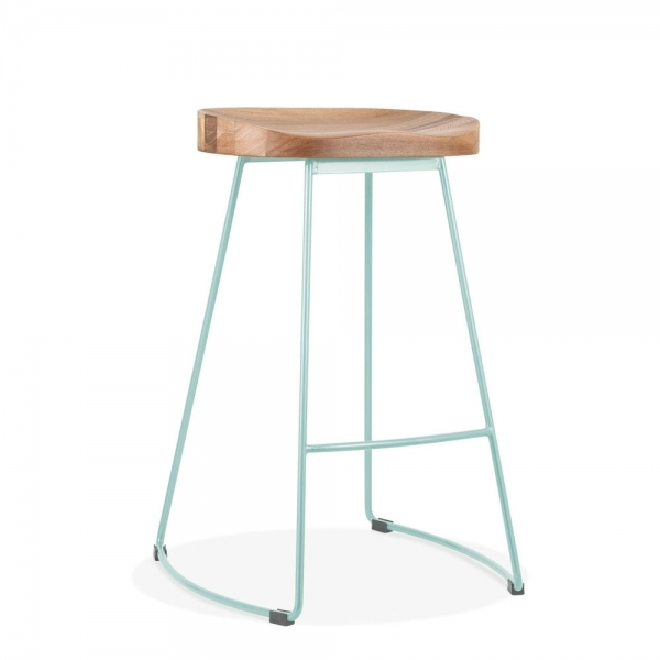Duck Egg Blue 65cm Victoria Metal Bar Stool With Natural