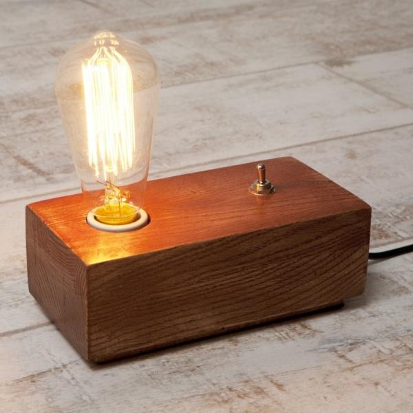 Vintage Style Wood Black Edison Table Lamp in Brown   Cult UK