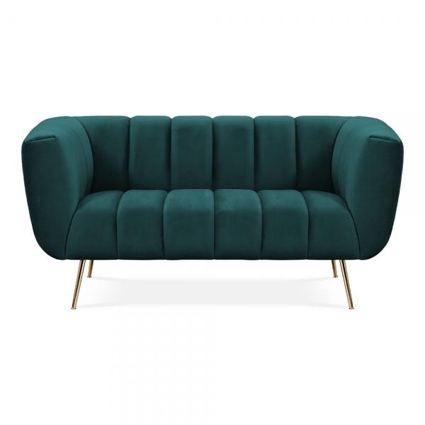 Dark Teal Velvet Vivienne 2 Seater Small Sofa