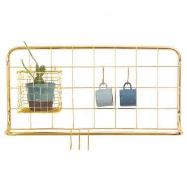 Wall Mounted Open Grid Kitchen Rack, Gold