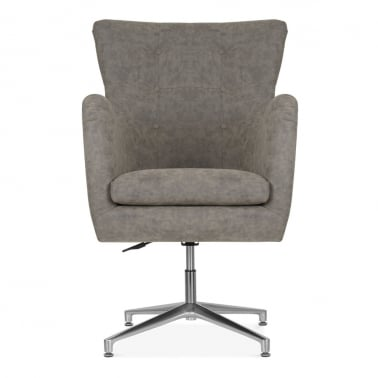 Walter Swivel Lounge Chair, Faux Leather Upholstered, Brown