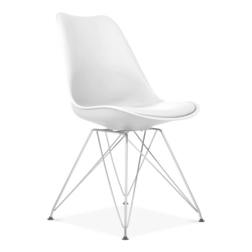 Eames Inspired White Dining Chair with Eiffel Metal Legs