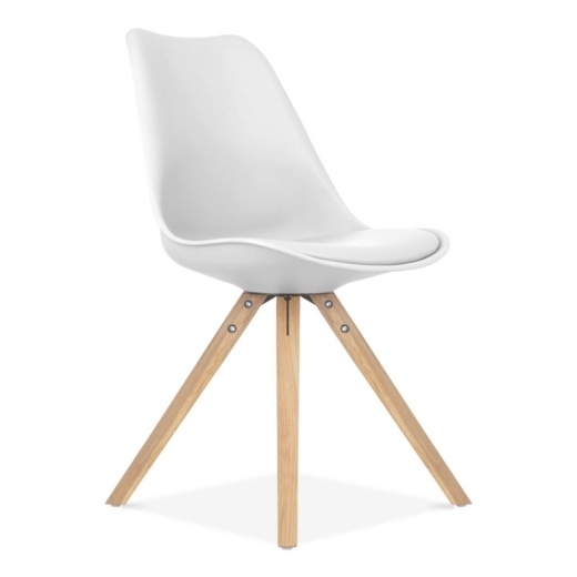 Eames Inspired White Dining Chair with Pyramid Style Solid Oak Wood Legs
