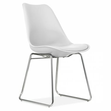 White Dining Chairs with Soft Pad Seat