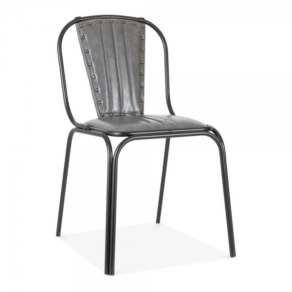 Funky Dining Room Chairs: Whitney Leather Upholstered Studded Dining Chair Grey