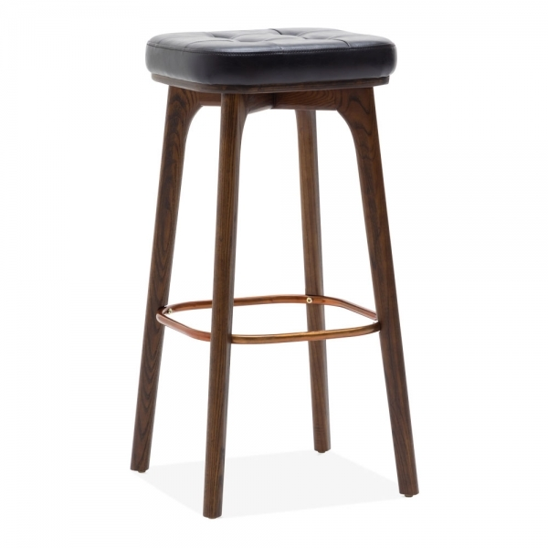 Winchester Solid Wood Bar Stool Black Faux Leather Upholstered Walnut 75cm