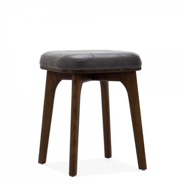 Winchester Upholstered Wooden Low Stool Grey Amp Walnut 45cm
