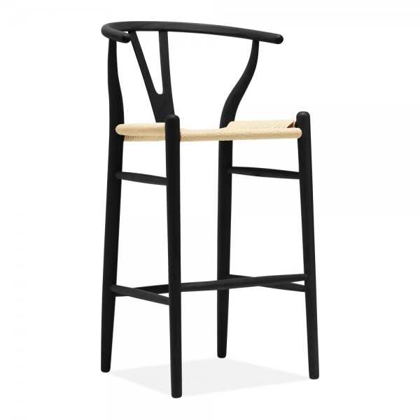 Surprising Wishbone Wooden Bar Stool Natural Weave Seat Black 75Cm Inzonedesignstudio Interior Chair Design Inzonedesignstudiocom