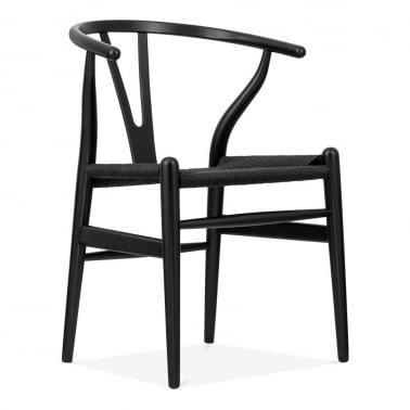 Wishbone Wooden Dining Chair, Black Weave Seat, Black