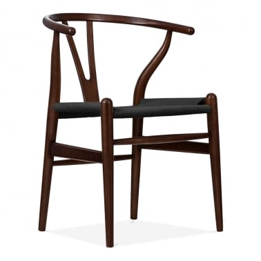 Wishbone Wooden Dining Chair, Black Weave Seat, Brown