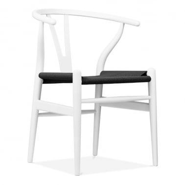 Wishbone Wooden Dining Chair, Black Weave Seat, White