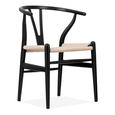 Wishbone Wooden Dining Chair, Natural Weave Seat, Black