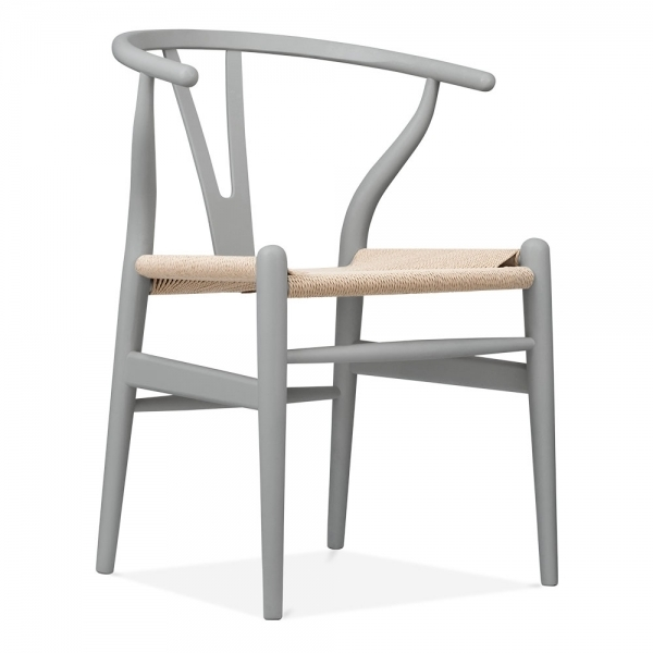 Wishbone Wooden Dining Chair Natural Weave Seat Grey