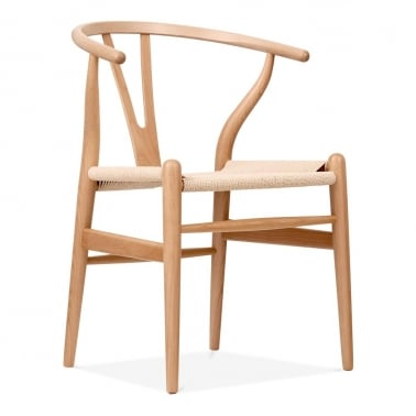 Wishbone Wooden Dining Chair, Natural Weave Seat, Natural