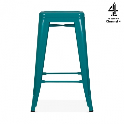 Teal Green 65cm Tolix Style Metal Bar Stool Industrial